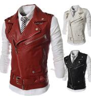 Zip-fit slim lapel short PU leather vest