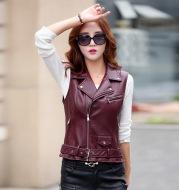 Women's short sleeveless leather vest
