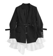 Striped women's suit coat