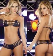Patent leather beach bikini set