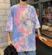 Tie-dye plus size hip hop half sleeve
