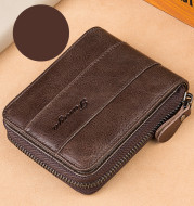 Leather zipper driver's license card bag