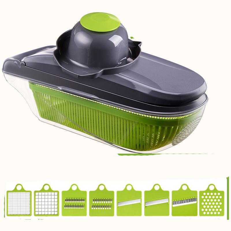 Vegetable Cutter Food Container Adjustable Mandoline Slicer 8 Interchangeable Blades