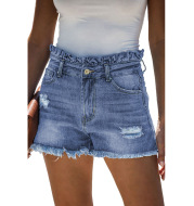 Blue high waisted old ruffled hot pants