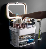 Makeup Organizer With Mirror LED light Large Capacity Jewelry Rack