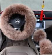 Three-piece wool steering wheel cover