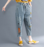 Women's embroidered casual jeans