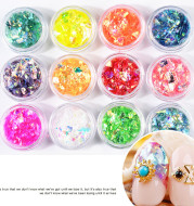 12 colors nail art colorful shell paper