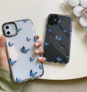 Blue butterfly transparent phone case