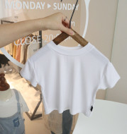 Baby solid color washed cotton short sleeve T-shirt