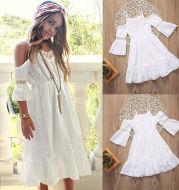 Girls strapless hollow dress