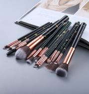 15 Marbled Design Makeup Brushes Set