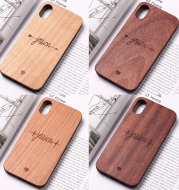 Mobile phone case made of solid wood