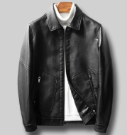 Trendy casual leather jacket