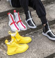 Side zipper high top board shoes