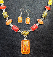 Two-piece earrings and necklaces