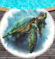 Marine life round printed beach towel