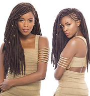 African black solid braided chemical fiber wig