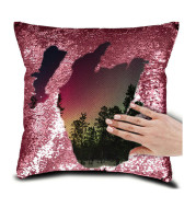 """Personalised Photo Your Name Or Text Decorative Sequin Pillow Cushion Cover Reveal Magic Gift Mother Of The Bride Groom 16*16"""""""