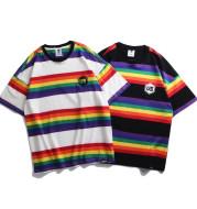 Rainbow stripes loose short sleeve t-shirt