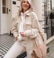 Women Plaid Pattern Thick Coats Jacket Pearl Buttons Long Sleeves Pocket Ladies Elegant Autumn Winter Coat
