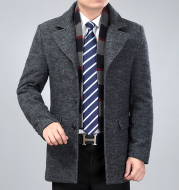 Men's woolen coat mid-length trench coat