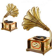 (Gramophone) Wooden three-dimensional puzzle