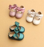 Girls' soft sole princess shoes bow step shoes