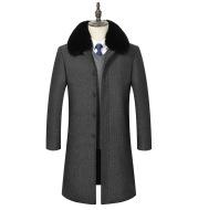 Plush padded winter mid-length woolen jacket