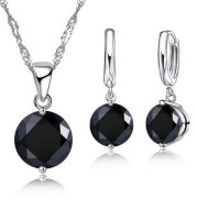 Sterling Silver Pendant Necklace Earrings Set Fashion Jewelry Trendy Style Austrian Crystal Women Engagement Colours