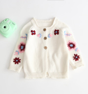 Embroidered cardigan knit sweater