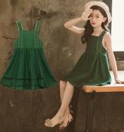 Western style all-match sleeveless long skirt