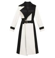 Women's lace-up long woolen coat