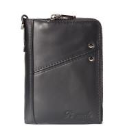 Men's leather zipper short wallet