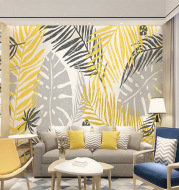 Modern Banana Leaft Background Self-Adhesive Wallpaper