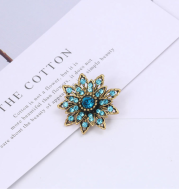 Brand Vintage Gold Color Plated Crystal Rhinestones Flower