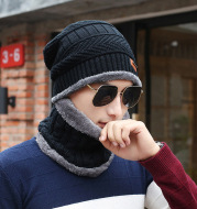 Men's knitted wool hat, casual warm bib cap
