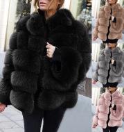 Faux fur stitching women's jacket