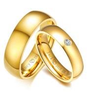 Golden stainless steel couple rings