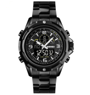 Sports steel band luminous dual display watch