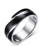Black Titanium Steel Twill Men's Ring