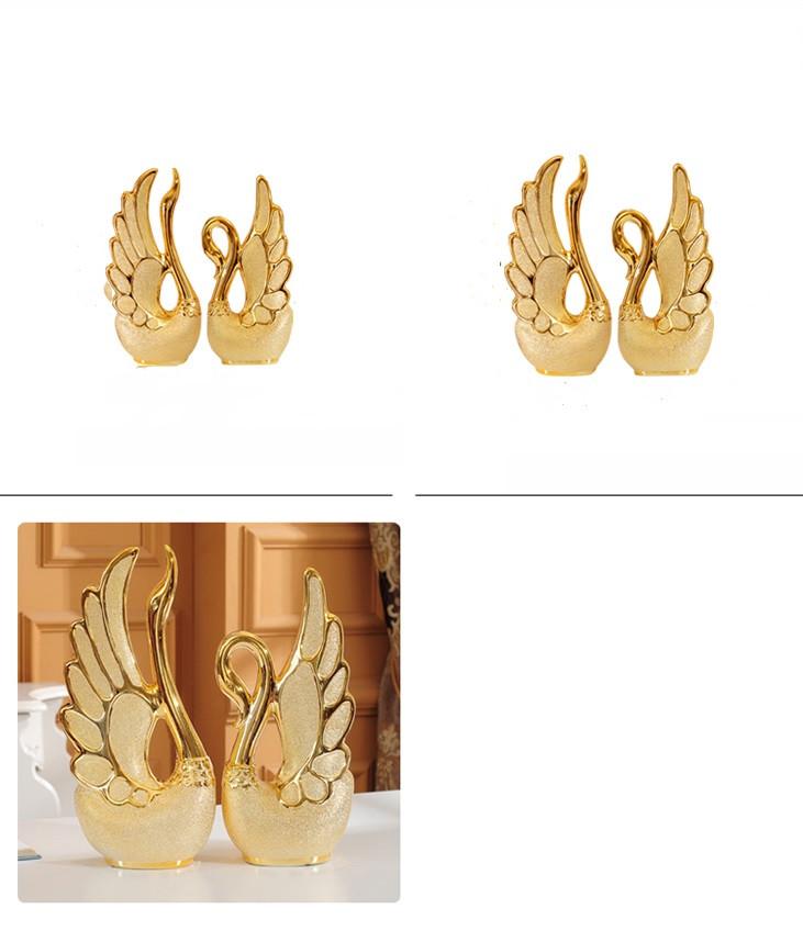 39501380508 - Adornos de cisne bañados en oro