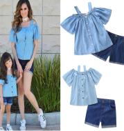 Mother-daughter cotton T-shirt + round skirt pants