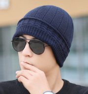 Men's hood knit hat with fluffy thread