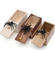 Wooden Prank Trick Joke Scare Toy Spider Box