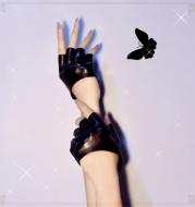 Jumper girl goth punk jk leather half finger half palm gloves