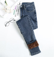 Women's plush thickened jeans