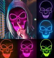 Halloween Skeleton Mask LED Glow Scary Mask
