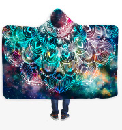 Geometric Mandala 3D Digital Printing Thick Huggle Hoodie Blanket Adult Cloak