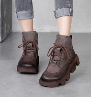 First Layer Cowhide Ankle Boots Platform Platform Shoes